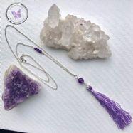 Amethyst Healing Silver Lilac Tassel Necklace